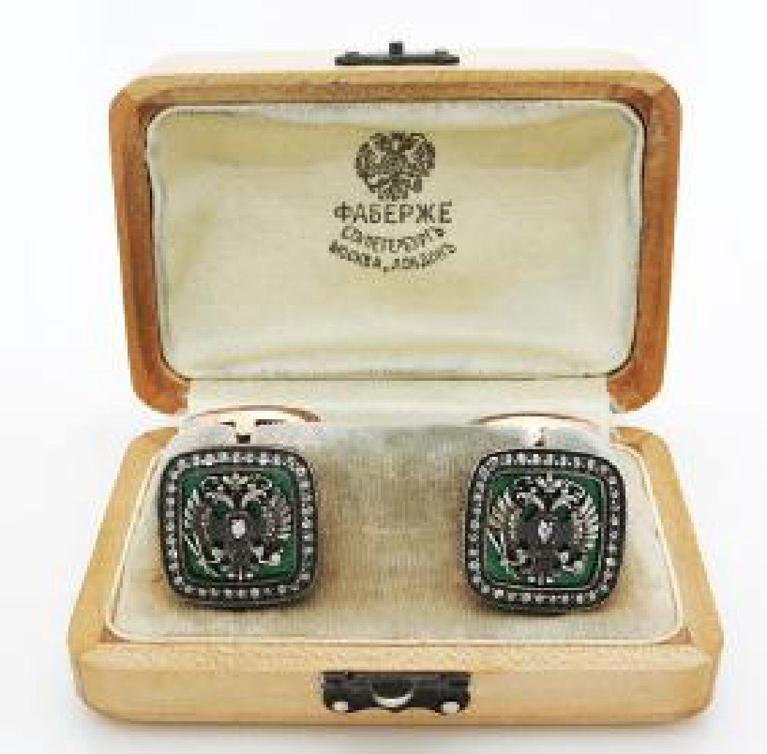 Rare Russian Diamond Gold Guilloche Enamel Cufflinks