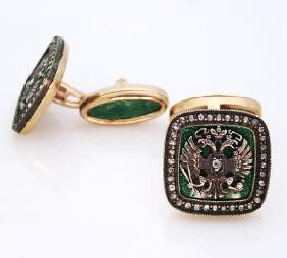 Rare Russian Diamond Gold Guilloche Enamel Cufflinks - 3