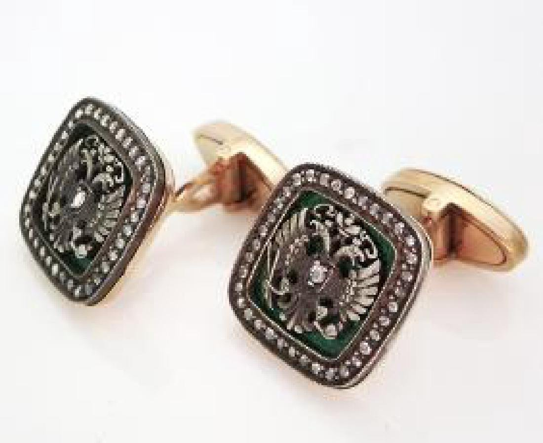 Rare Russian Diamond Gold Guilloche Enamel Cufflinks - 5