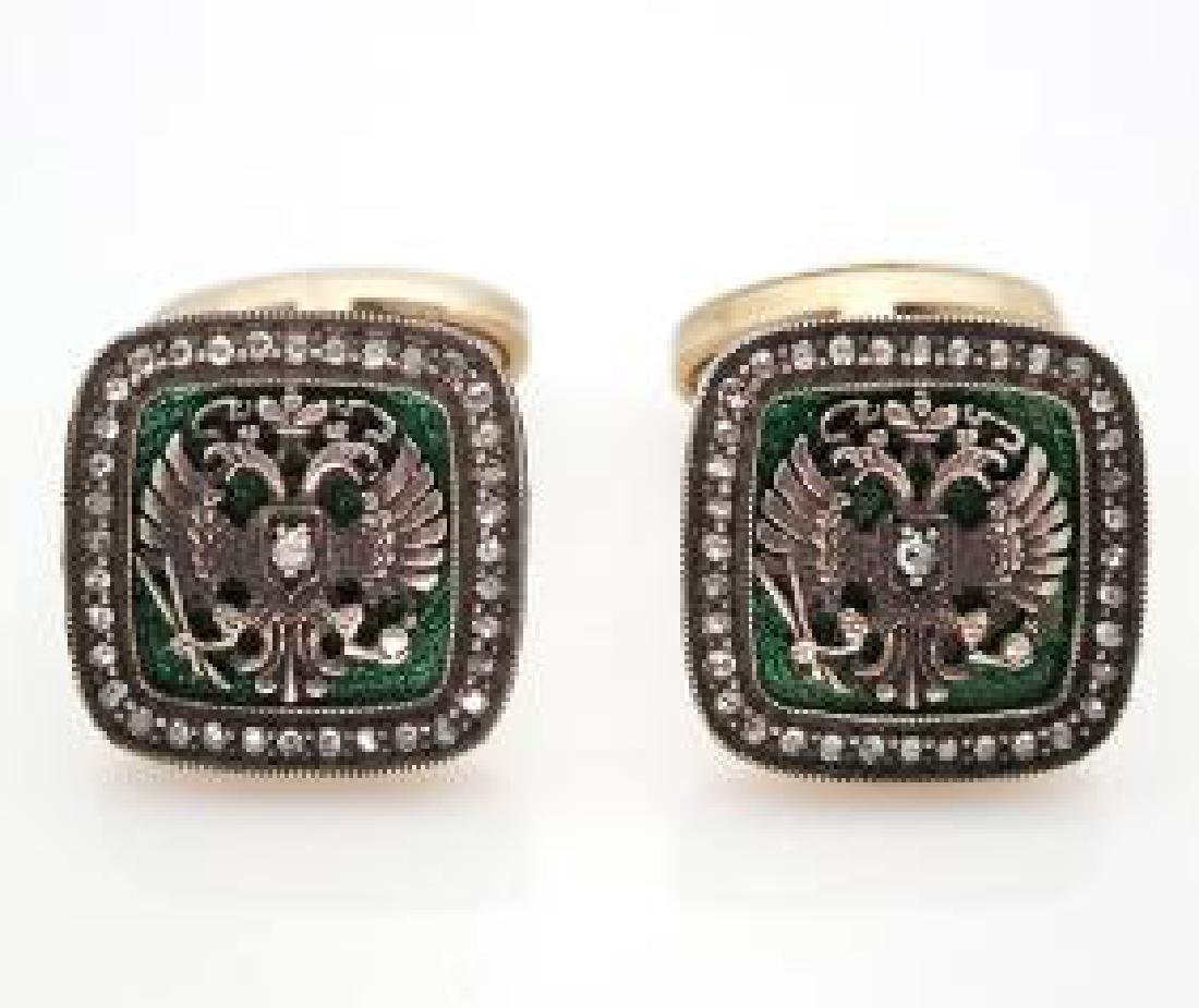 Rare Russian Diamond Gold Guilloche Enamel Cufflinks - 6