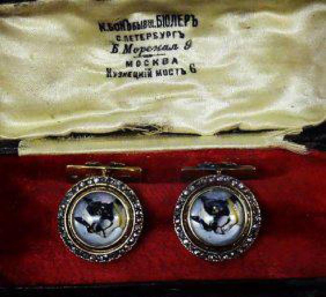 ANTIQUE RUSSIAN GOLD ENAMEL CUFFLINKS