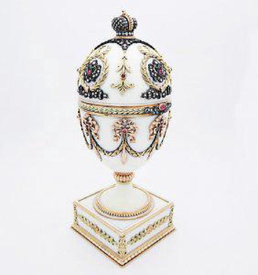 Russian Huge Jeweled Gold Guilloche Egg with Diamonds