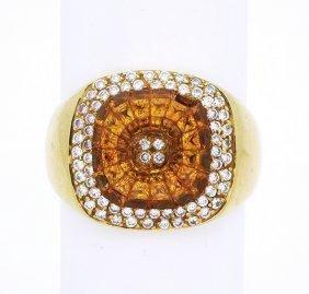 Levian 18K Gold Diamond Citrine Men's Ring size 11.5