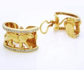 Vintage 18k Yellow Gold Panther clip on earrings with