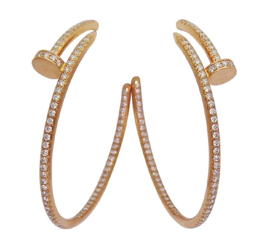 Cartier Juste Un Clou 18k Rose Gold Diamond Hoop