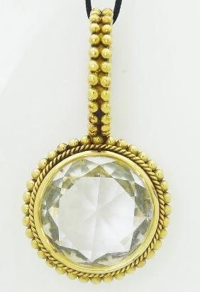 Stephen Dweck 18k Gold Quartz Pendant Necklace