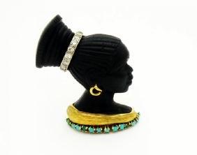 Cartier Blackamoor 14k Enamel Turquoise & Diamonds Pin