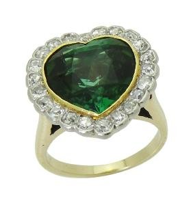 Estate 14K Gold Demantoid garnet Diamond Heart Shape