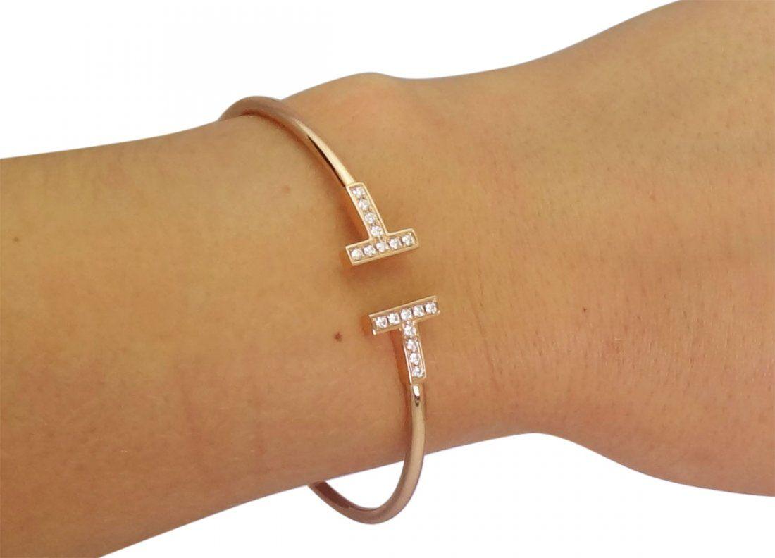 Tiffany & Co. 18K Rose 0.22tcw Diamond Wire Bracelet