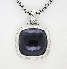 David Yurman Sterling Silver Pendant with Amethyst