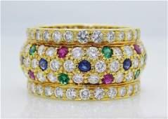 18K Gold Diamond Emerald Ruby  Sapphire Wide Band