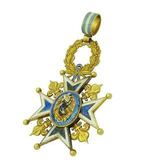 18K Yellow Gold Royal Spanish Order Cross Pendant