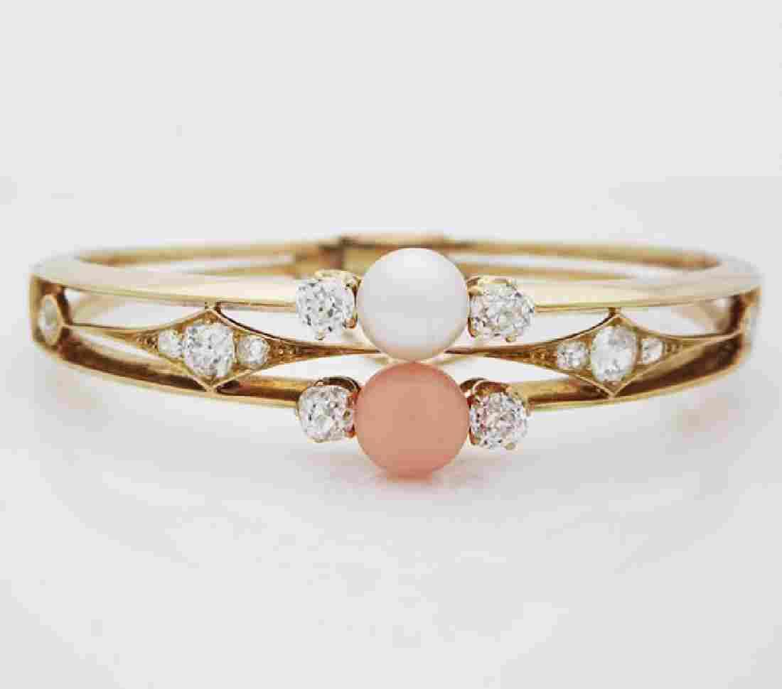 Antique 18K Gold natural Pearl, Coral Diamond Bracelet