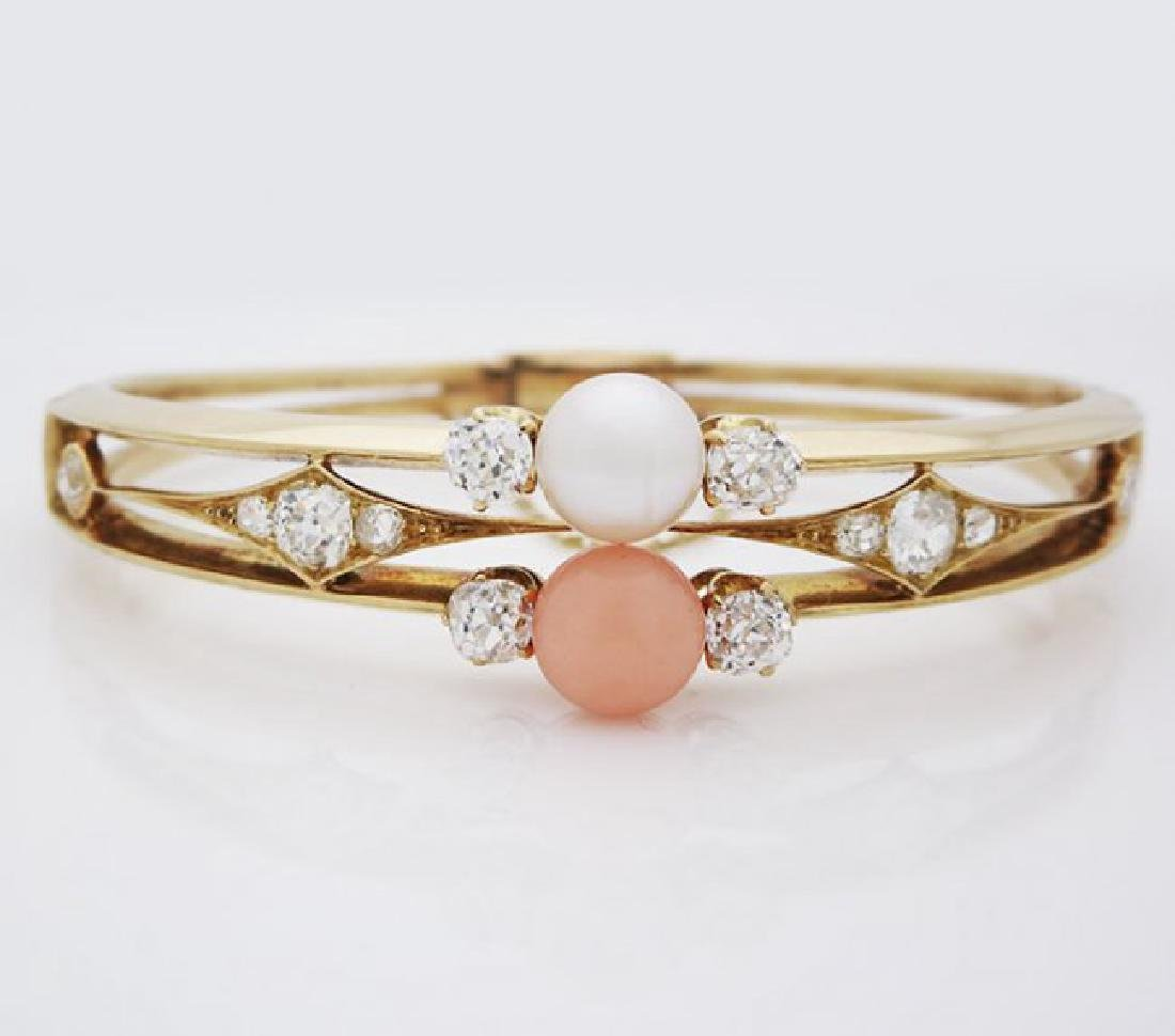 Antique 18K Gold natural Pearl, Coral Diamond Bracelet