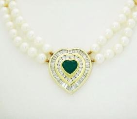 18k 5.00 ct TCW Diamond Emerald Heart Pendant Cultured