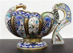 F. Ruckert Large Russian Silver Enamel Kovsh