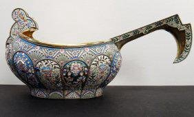 LARGE RUSSIAN SILVER AND ENAMEL KOVSH