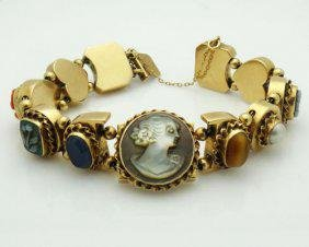 Estate 14k Yellow Gold Multi Color Gemstone and Cameo