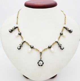 18K Yellow Gold 2.5tcw. Diamond & Pearl Necklace