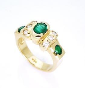 18K Yellow Gold Emerald and Diamond Ring,