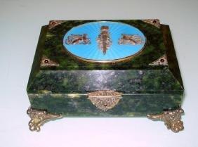 Antique Large Russian Jade Silver Enamel jeweled box