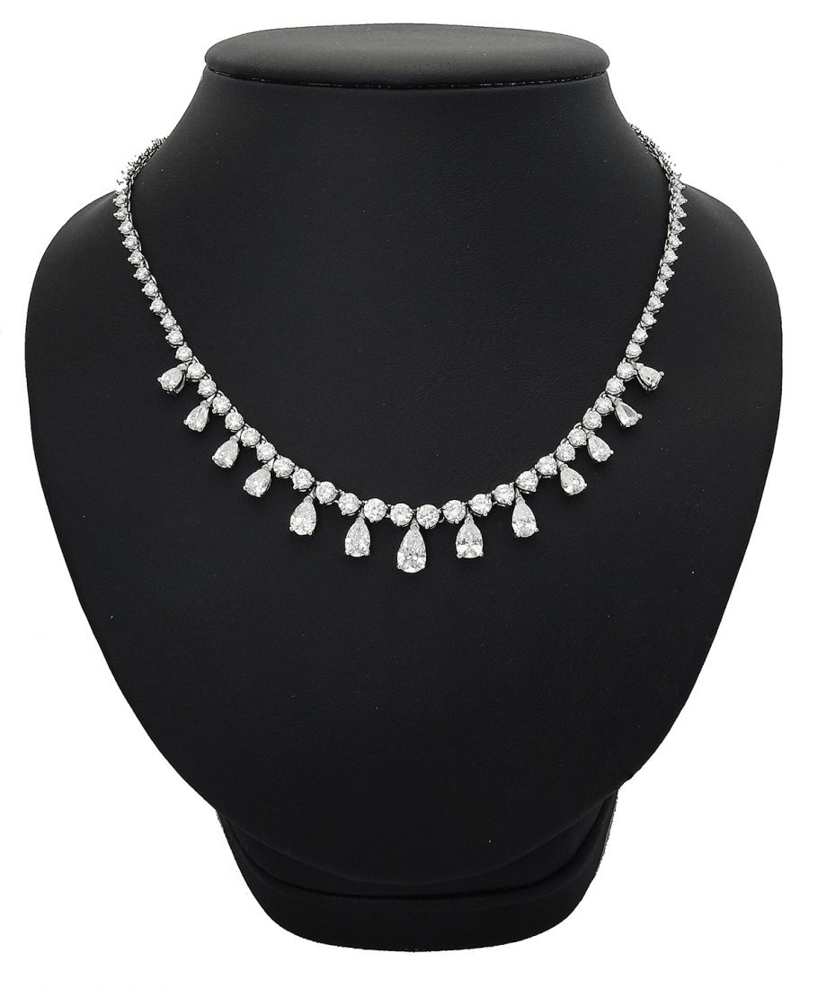Graff Plat Brilliant Round & Pear Cut Diamond Necklace