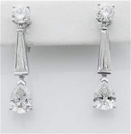 Estate Tiffany & Co PT 950 Diamond 4.50 TCW Earrings