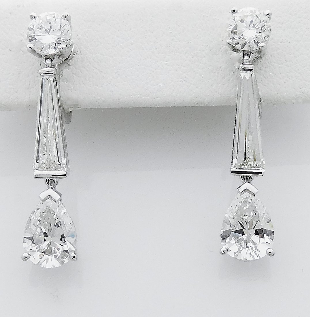 Estate Tiffany & Co PT 950 Diamond 4.50 TCW Earrings