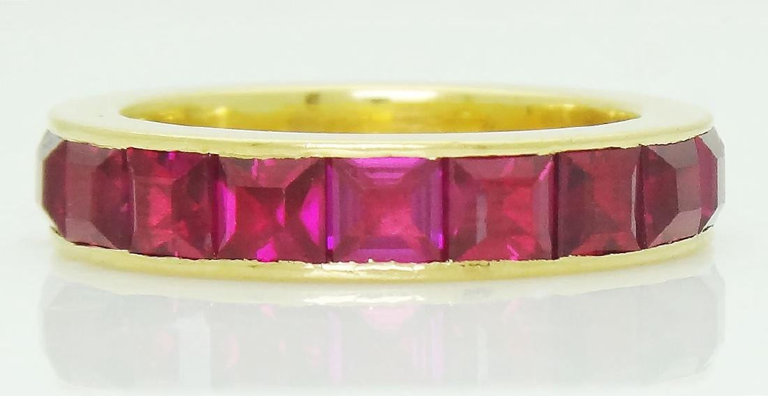 Estate 18k Gold 9.00 TCW Unheated Ruby Eternity Band