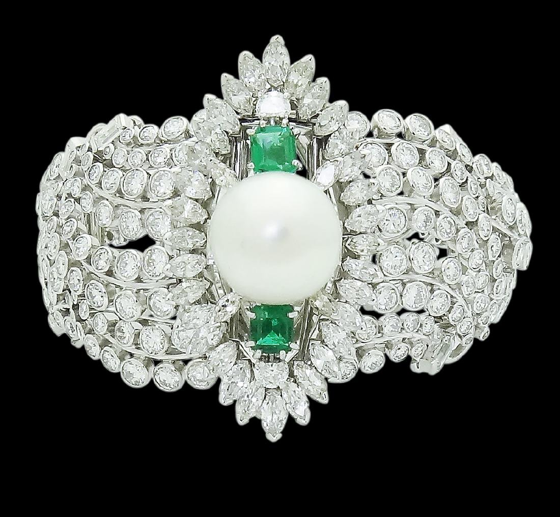 Platinum Over 30 TCW Diamond Emerald and Pearl Bracelet