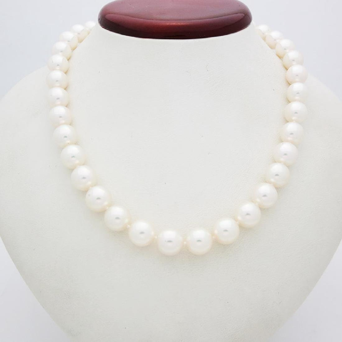 Mikimoto Pearl Necklace 18kGold & Blue Enamel Necklace