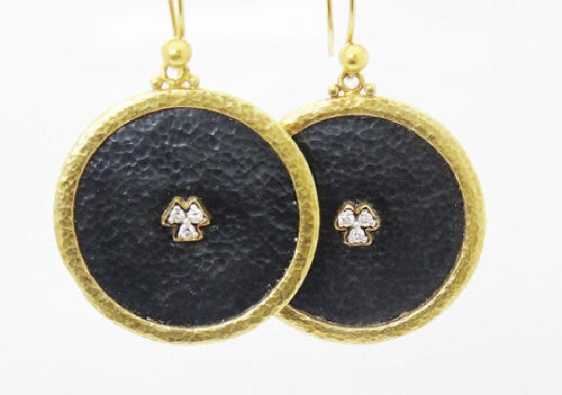 Gurhan Imperial Diamond Gold Silver & Diamond Disk Drop