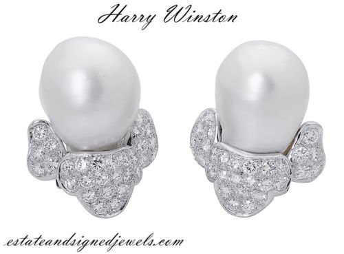 Harry Winston PT  3.50 TCW Diamond & Pearl Clip Earring