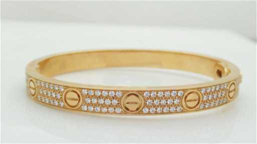 9035408c2c5f9 Cartier 18k Rose Gold Diamond Paved Love Bracelet