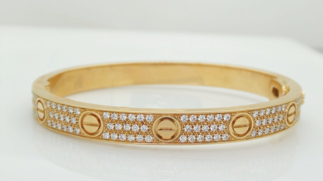 Cartier 18k Rose Gold Diamond Paved Love Bracelet