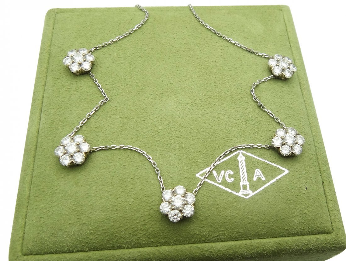 Van Cleef & Arpels 18k  5 Fleurette Diamond Necklace