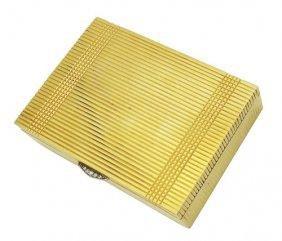 Estate Cartier 14k Yellow Gold & Diamond Pill Box
