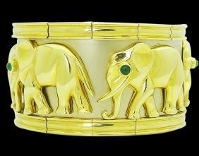 Estate Cartier 18kt Cabochon Emerald Elephant Bracelet