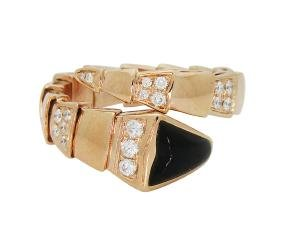 Bulgari Seprenti 18k Rose Gold Onyx Diamonds Ring