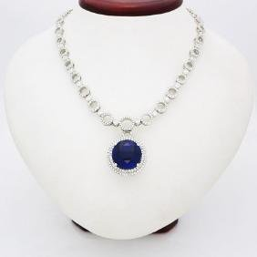 Modern 18K Gold, diamond large round Tanzanite Necklace