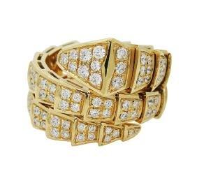 Bulgari Seprenti 18k Yellow Gold & Pave Diamond Ring