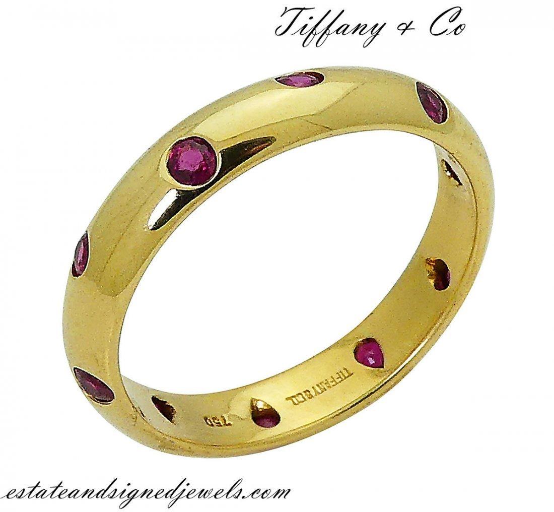 Rare Tiffany & Co 18k Etoile Ruby Eternity Band Ring