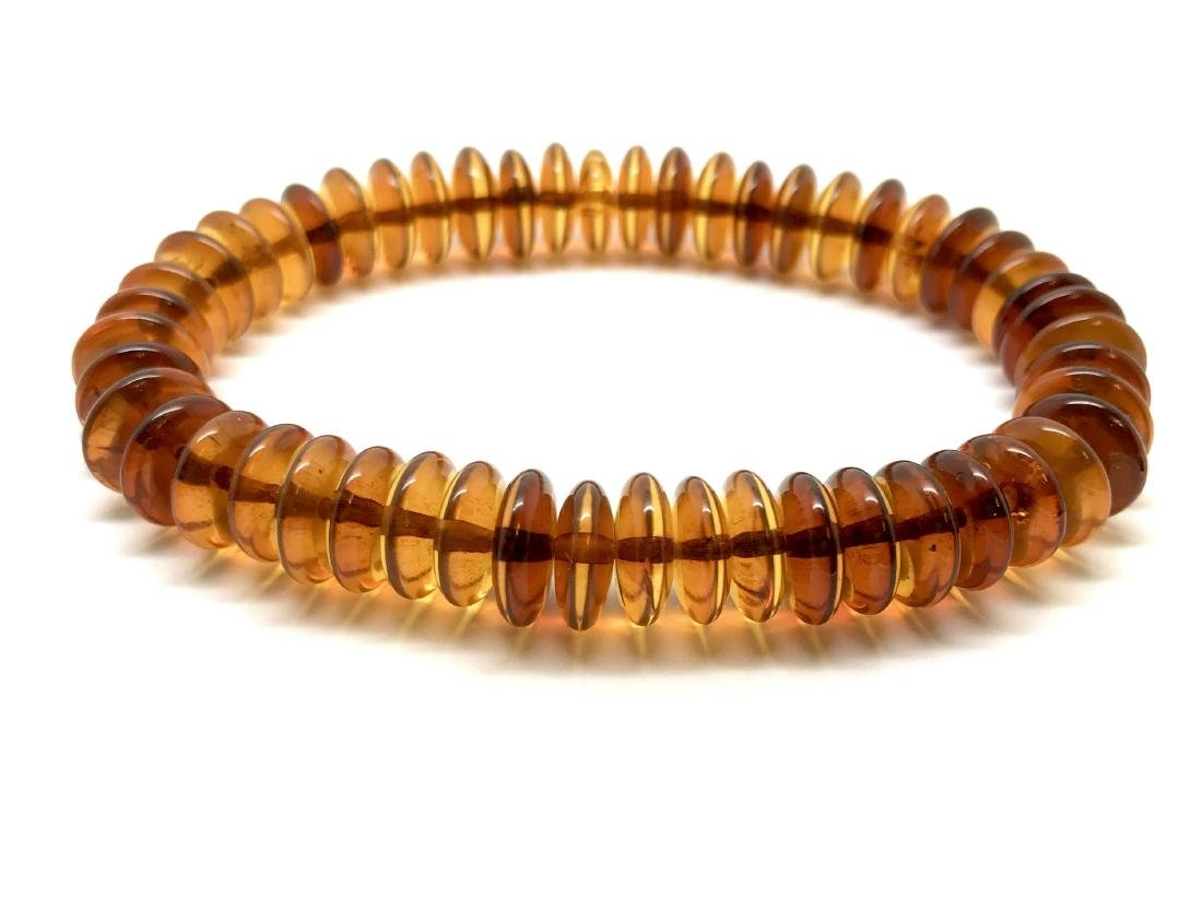Baltic Amber Bracelet Cognac Colour Donuts - 4