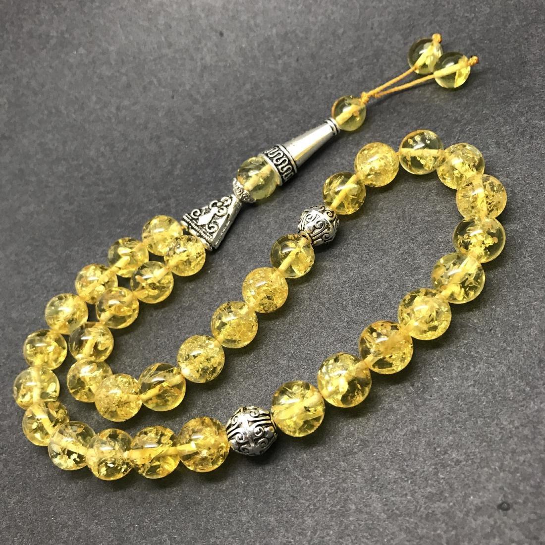 Baltic Amber Tesbih Lemon Colour, 33 beads