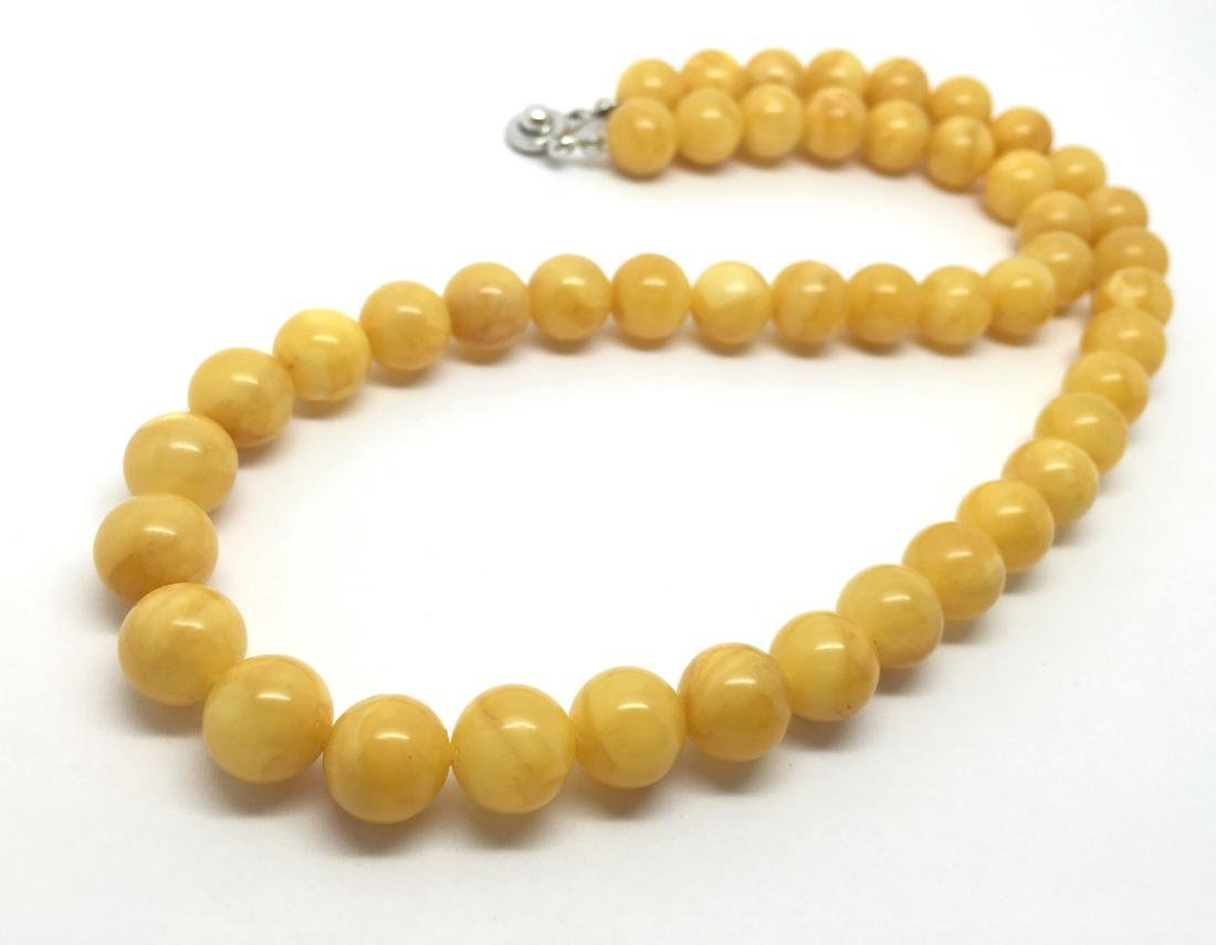 Baltic Amber Necklace Butter Yellow Colour