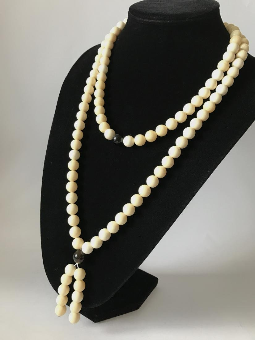 Baltic Amber Lucky Mala White Colour With Cherry - 2