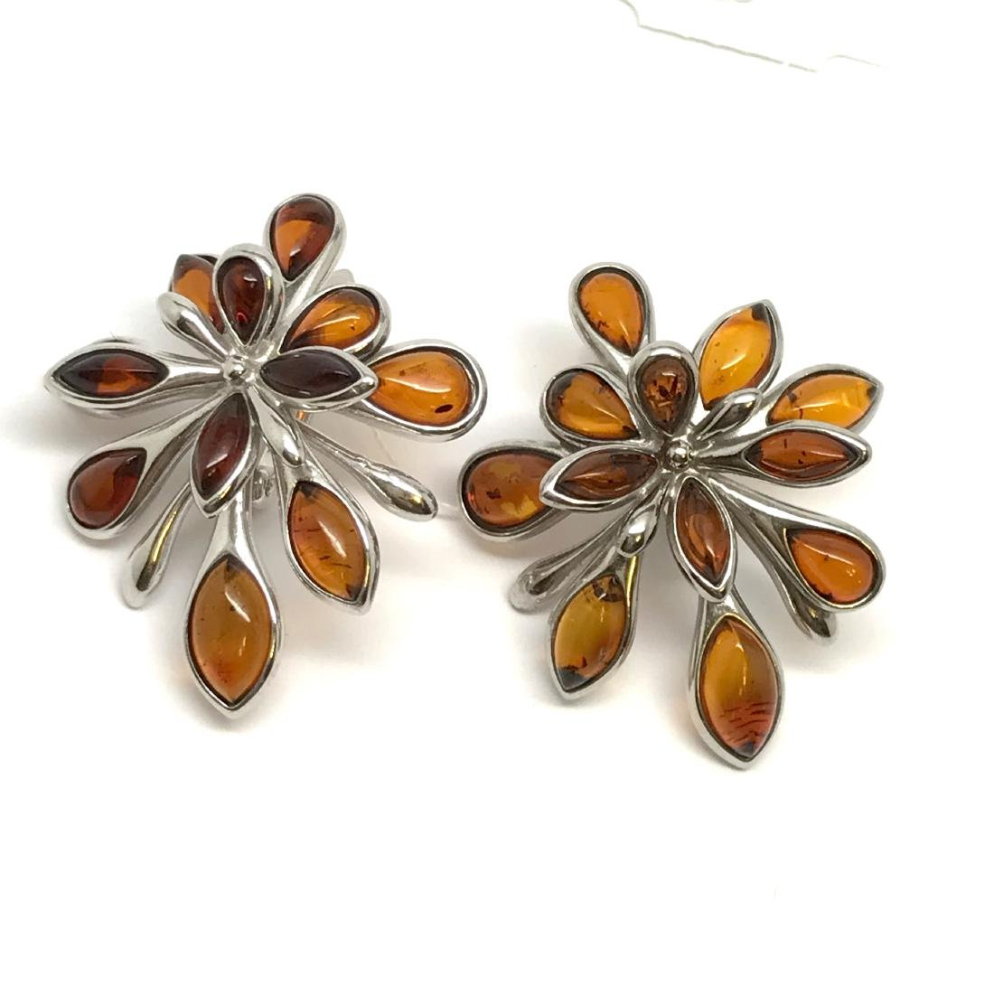 Baltic Amber Silver Earrings Cognac Colour - 10