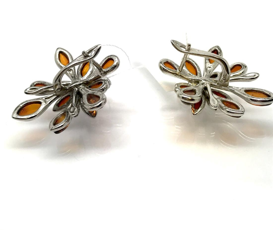 Baltic Amber Silver Earrings Cognac Colour - 4