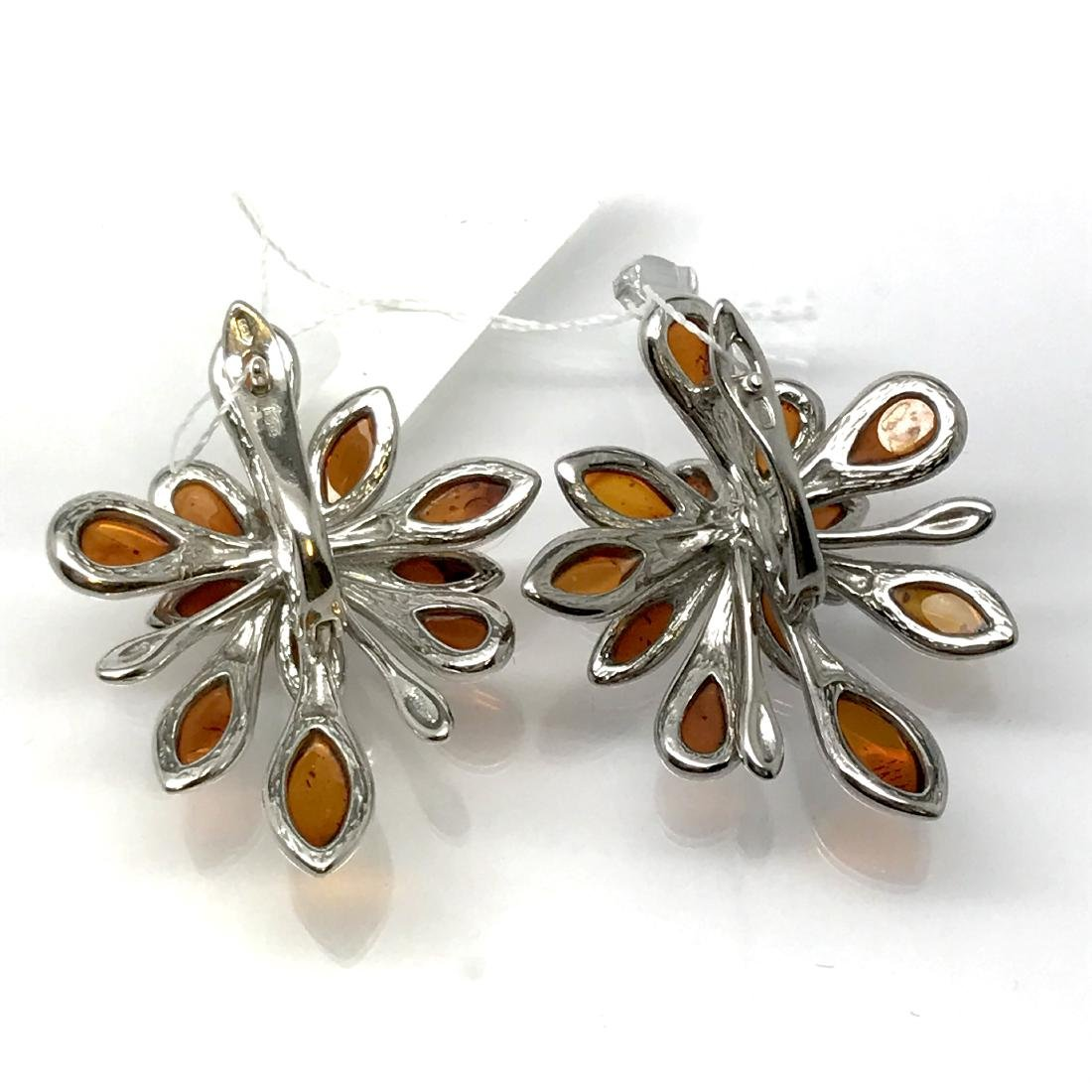 Baltic Amber Silver Earrings Cognac Colour - 6