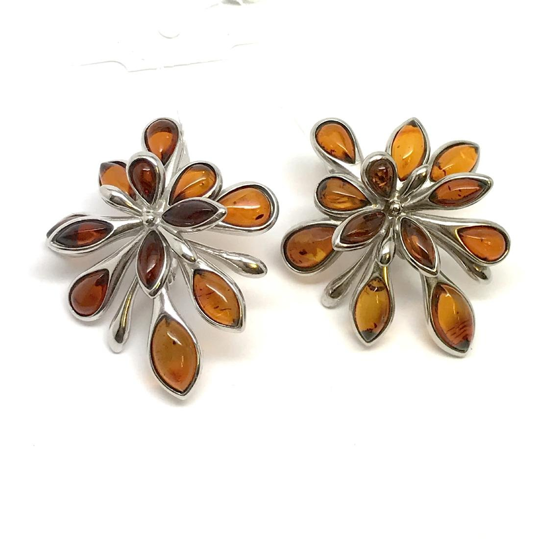 Baltic Amber Silver Earrings Cognac Colour - 7